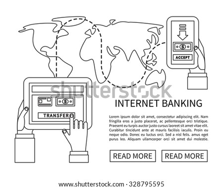 Internet banking, mobile payments and money transfer. Linear flat design vector.