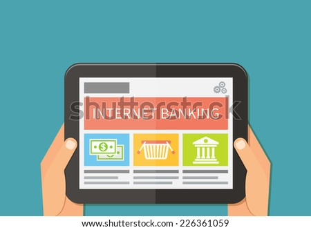 Internet banking, online purchasing and transaction. Flat vector illustration - stock vector