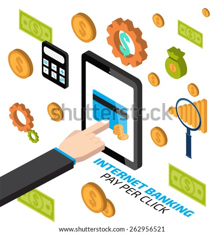 Internet banking with hand touching tablet. Pay per click - stock vector
