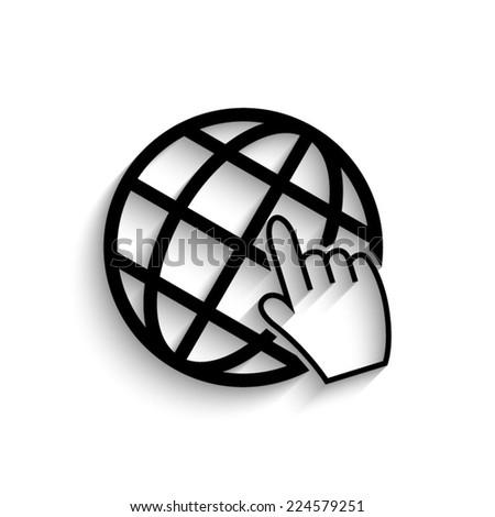Internet - black vector icon with shadow - stock vector