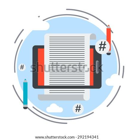 Internet blogging, website content flat design style vector concept illustration - stock vector