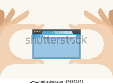Internet browser window in human hands. Idea - Mobile internet in your hands. With copy space for your text. - stock vector
