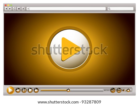 Internet browsers with video controls and play back interface - stock vector