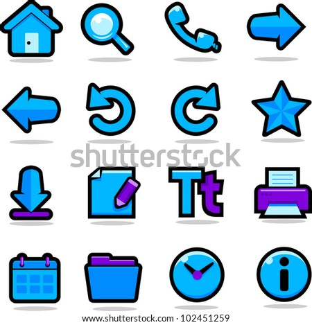 Internet browsing icons set - stock vector