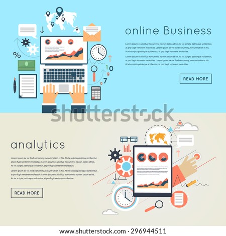Internet business concept. Flat design web analytics elements, optimization, programming process concept. Material design. Hands on the laptop - stock vector