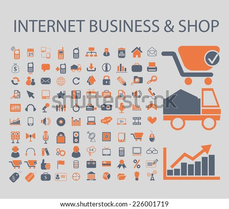 internet business, ecommerce, shop, sales icons, signs, illustrations, vector, set - stock vector