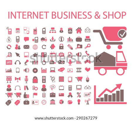 internet business, shop, commerce, logistics isolated icons, signs, illustrations for web, internet, mobile application, vector - stock vector
