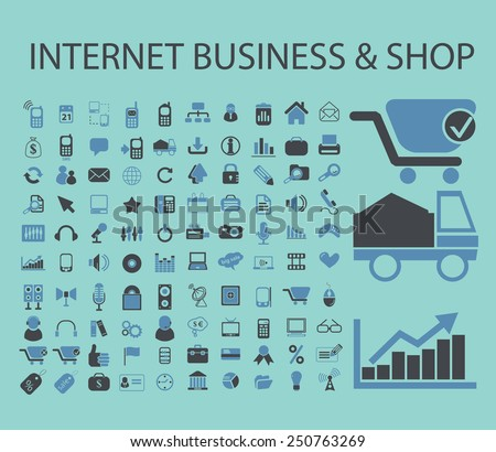 internet business, shop, eCommerce icons, signs, illustrations set, vector - stock vector