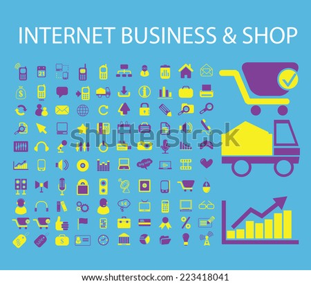 internet business, store, e-commerce icons, signs, symbols, illustrations, vectors set - stock vector