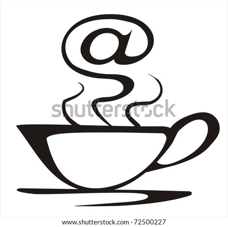 internet cafe concept in simple black lines - stock vector