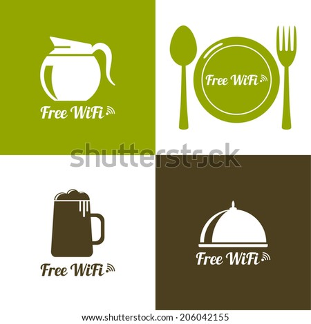 Internet cafes. Wireless free connection. wifi icons with coffee, beer, spacing, fork, spoon for remote access. poster design - stock vector