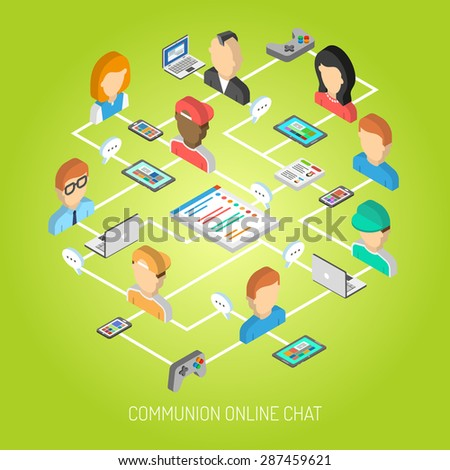 Internet chat concept with isometric online communication symbols and people avatars vector illustration - stock vector
