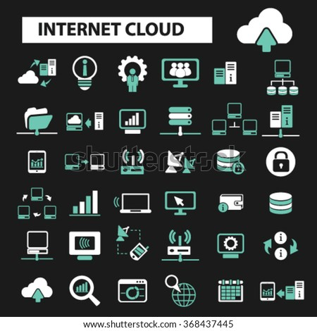 internet cloud icon, clouding, web, computer network, connection, hosting, database, pc  icons, signs vector concept set for infographics, mobile, website, application  - stock vector