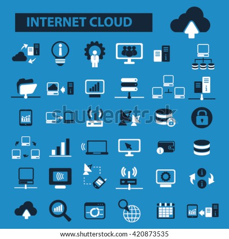 internet cloud icons  - stock vector