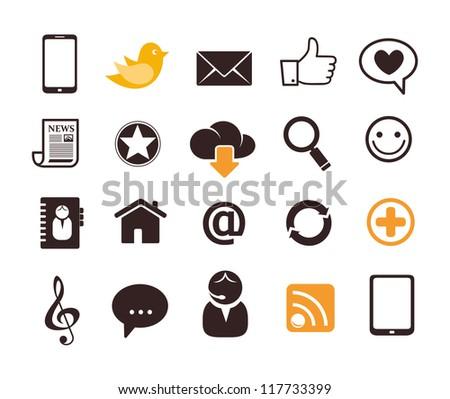 Internet communication icons - stock vector
