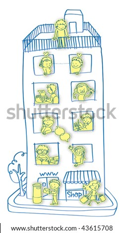 Internet community. Vector illustration of an on line community concept. The building  is the web and the tenants are doing what on line people do. - stock vector