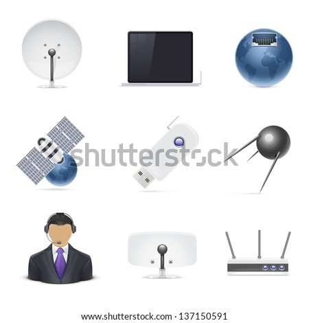 internet connections vector icon set - stock vector
