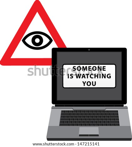 Internet control and all-seeing eye.Concept. - stock vector