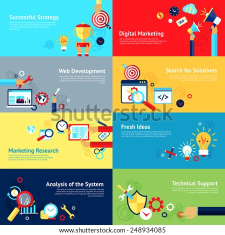 Internet design concept set with successful strategy digital marketing web development icons isolated vector illustration - stock vector