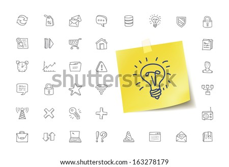Internet Doodle Icons - stock vector