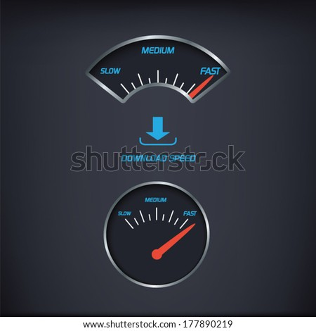Internet download speed gauges set with two types of vintage gauges mixed with modern elements. Eps10 vector illustration. - stock vector
