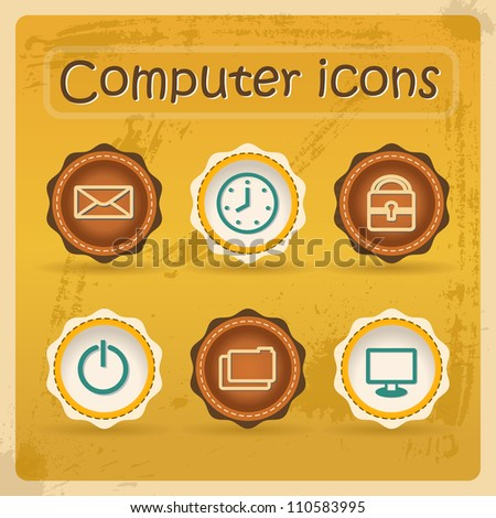 Internet eddiction icons. Vintage design. Grunge style.Retro Vector Illustration. - stock vector