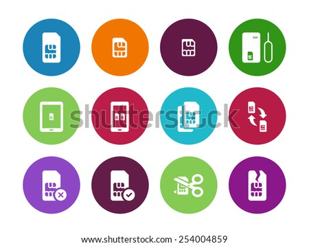 Internet 3G and 4G, lte SIM card circle icons on white background. Vector illustration. - stock vector