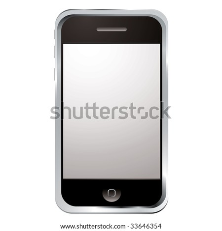 internet gadget phone with large screen and single button - stock vector