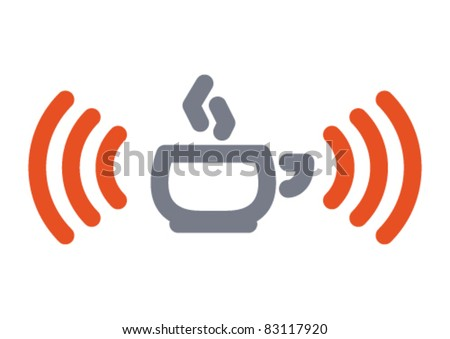 Internet icon: hot cup with wifi wireless signal - stock vector