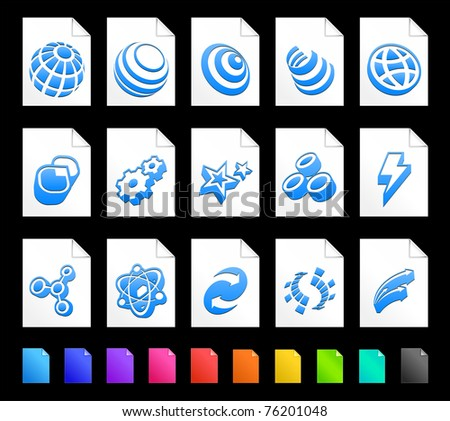 Internet Icon on Document Icon Collection Original Illustration - stock vector