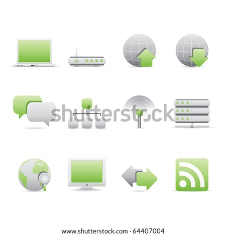 Internet icon set 2 � Bi Colored Series (Green and Gray).  Vector EPS 8 format, easy to edit.
