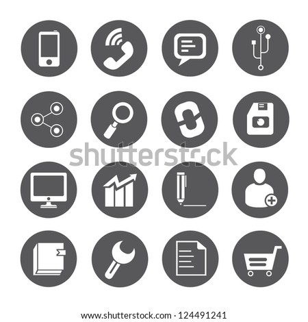 internet icon, social media icon set - stock vector