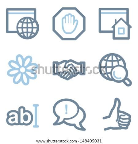 Internet icons, blue line contour series - stock vector