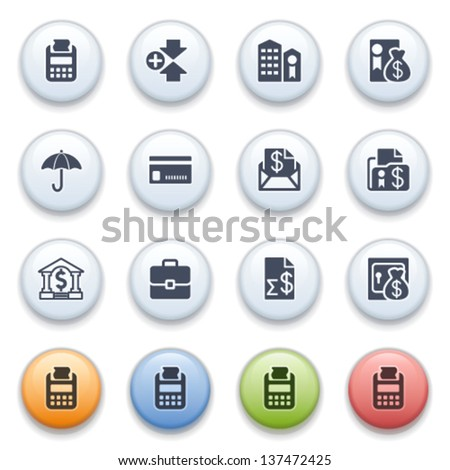 Internet icons on color buttons. Set 4. - stock vector