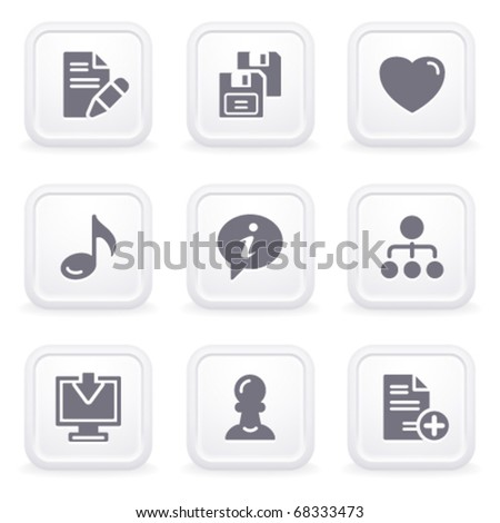 Internet icons on gray buttons 10 - stock vector