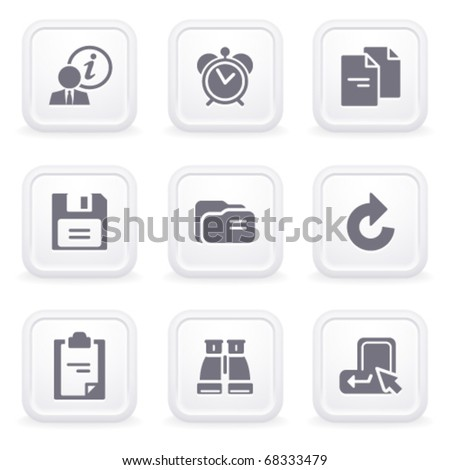 Internet icons on gray buttons 3 - stock vector
