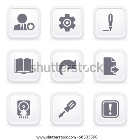 Internet icons on gray buttons 6 - stock vector