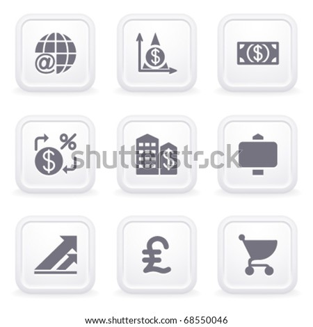 Internet icons on gray buttons 23 - stock vector