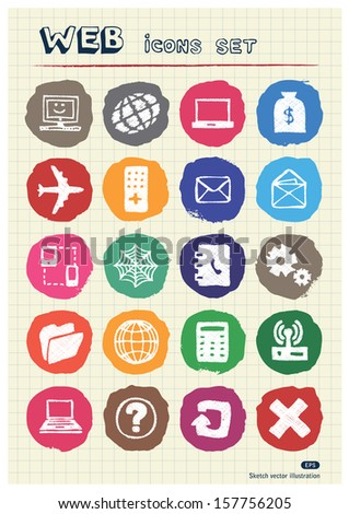 Internet icons set drawn by chalk. Hand drawn vector elements pack isolated on paper - stock vector