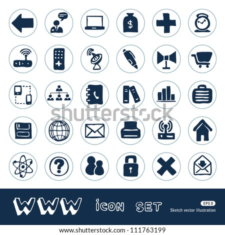 Internet icons set. Hand drawn sketch illustration isolated on white background - stock vector