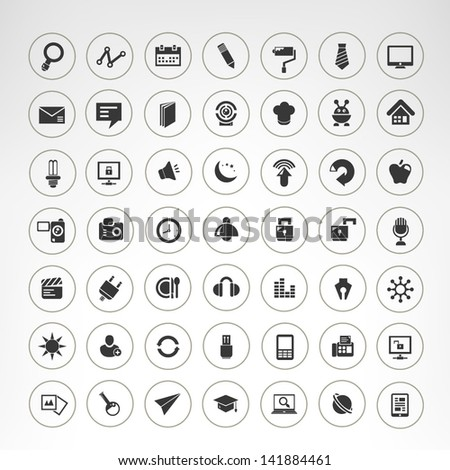 internet icons set, round web icons set - stock vector