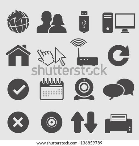 Internet icons set.Vector - stock vector