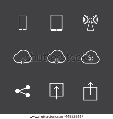 Internet icons set,White icons on black background - stock vector