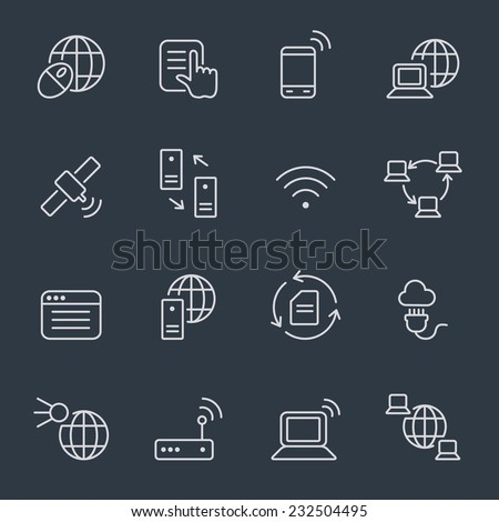 Internet icons, thin line design, dark background - stock vector