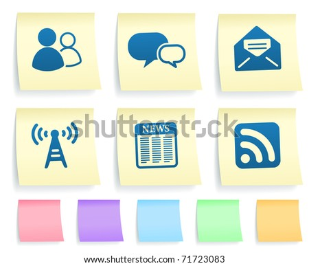 Internet Information Icons on Post It Note Paper Collection Original Illustration - stock vector