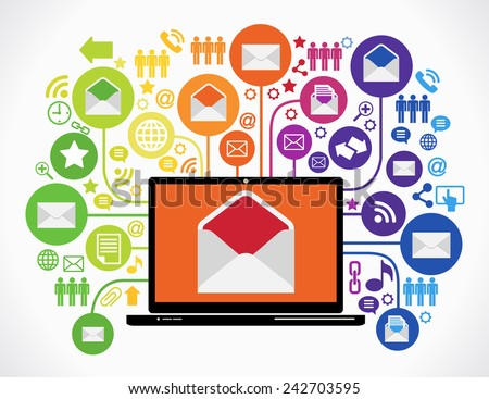 Internet mail concept. loptop with a mail on the screen surrounded interface icons - stock vector