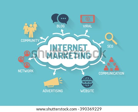 Internet Marketing - Chart with keywords and icons - Flat Design - stock vector