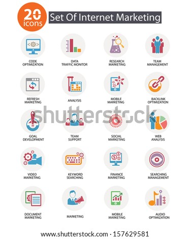 Internet Marketing icons,Colorful version,vector - stock vector