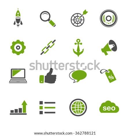 Internet marketing icons - SEO - Search engine optimization  - stock vector