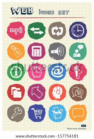 Internet, media and network web icons set drawn by chalk. Hand drawn vector elements pack isolated on paper